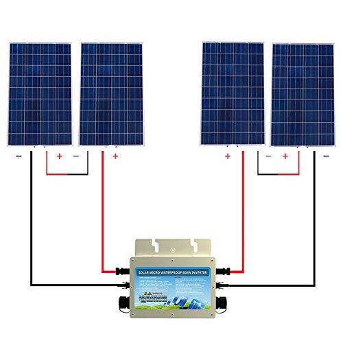 ECO-WORTHY 480 18V IP65 Gitter Bindung Solar Panel Kit: 4PC 120W Solar Panel + 600W 24V-220V wasserdichte Wechselrichter für Haushalt