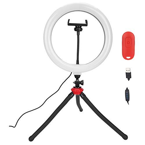 Anillo de luz LED de 10.2 '' con soporte para teléfono móvil y trípode, anillo de luz LED regulable de 3 colores con control remoto Bluetooth para fotografía/maquillaje/vlogging/transmisión en v