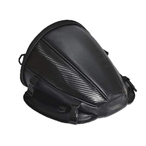 Ketamyy Bolsa Asiento Trasero Moto, Alforjas Mochila de Almacenamiento Bolsa de Mano Viaje Accesorios para Motoqueros Cuero PU, Impermeables, Multifunción, Retirable, Portátil Negro