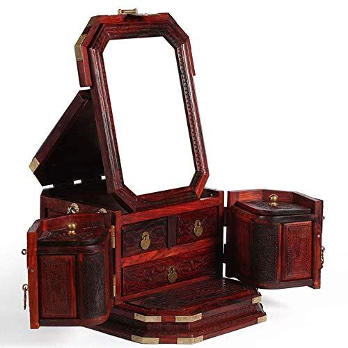 ALIANG Espejo de tocador de Madera con Anillo de Bloqueo de Cobre, Collar, Pendientes, Caja de Almacenamiento