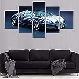 Cuadros 5 Piezas Bugatti Veyro Lienzos XXL Modernos Impresión De Imagen Artística Digitalizada Lienzo Decorativo para Tu Salón Dormitorio-con Marco-150X80Cm