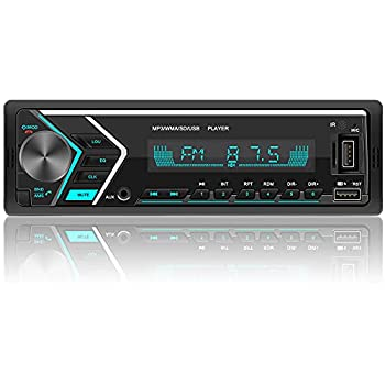 Single Din Car Stereo with Dual Bluetooth FM Radio Car Audio Receiver Dual USB Port SD AUX-in Built-in Microphone Hands Free Calling MP3 Player with Wireless Remote Control