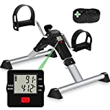 TABEKE Under Desk Bike Pedal Exerciser - Pedal Exerciser for Arm/Leg Workout, Portable Desk Bike Peddler Exerciser with LCD Display