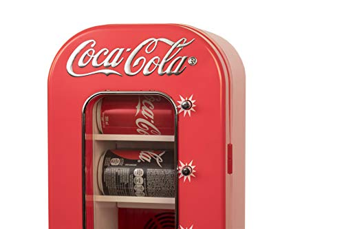 Coca-Cola AC/DC Retro Vending Electric Cooler with 10 Can Capacity - Beverage Vending Machine with Thermoelectric Cooling and Tall Window Display
