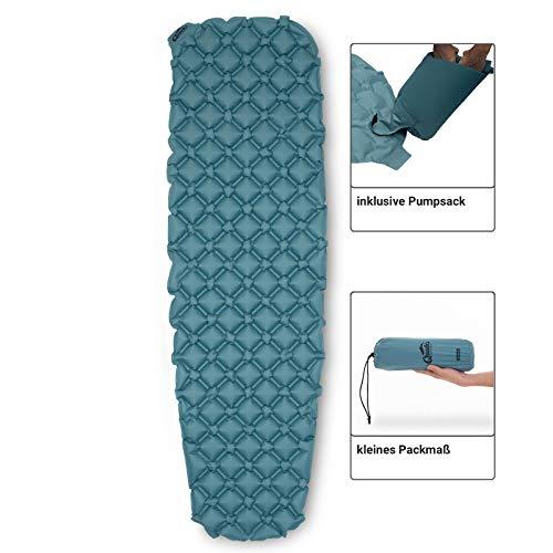 Qeedo Light Pad Isomatte, leicht (500g), kleines Packmaß, aufblasbar, inkl. Pumpsack