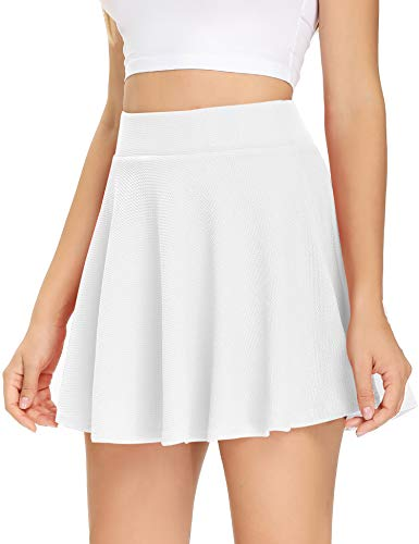 Pleated Tennis Skirts for Women with Pockets Shorts Flared Skater Mini Skirt Causual Golf Running Athletic Skorts (White, Medium)
