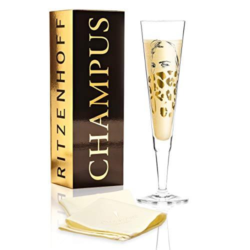 Ritzenhoff Champus Champagnerglas von Peter Pichler (Noble Savage), aus Kristallglas, 205 ml, mit edlen Goldanteilen, inkl. Stoffserviette