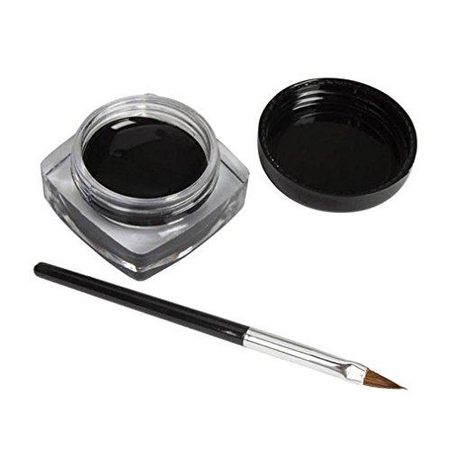 Tefamore, set di 2mini eyeliner in gel, crema con pennello per trucco, colore nero, waterproof