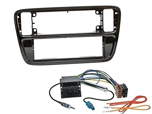 1 Din Radio Einbauset Blende Radioanschlusskabel Antennenadapter für VW Up (AA/AAN) ab 2011