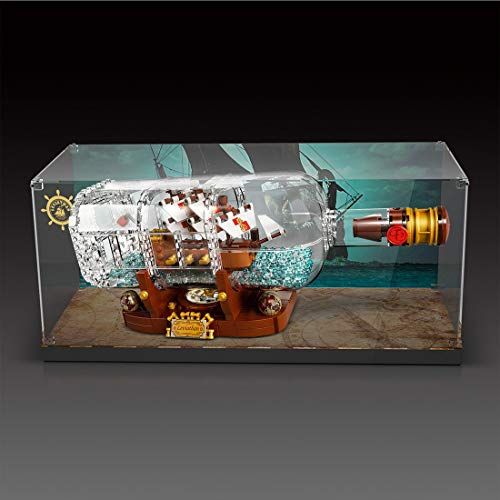 Giplar Acrylic Display Case Compatibile con Lego 21313 Ideas Nave in Bottiglia, Acrilico Vetrina Scatola di Acrilico - A Prova di Polvere Teca (Non Incluso Modello)