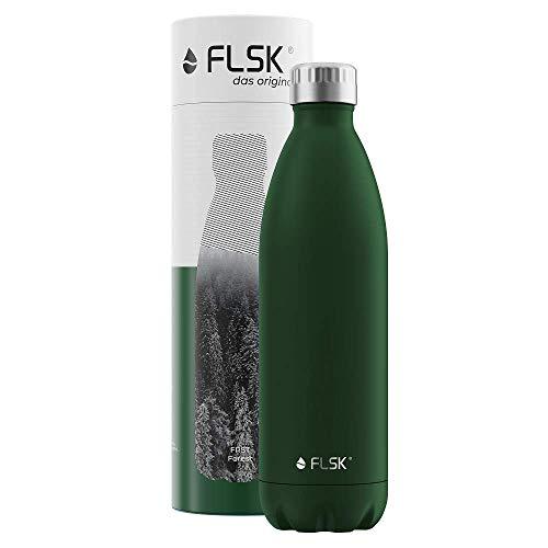 FLSK Das Original New Edition Edelstahl Trinkflasche – Kohlensäure geeignet | Die Isolierflasche hält 18 Stunden heiß und 24 Stunden kalt | ohne BPA und rostfrei, Forest, 1000ml