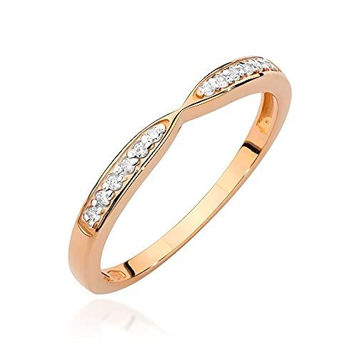 Anillo para mujer 585 de oro de 14 quilates, diamantes naturales y brillantes, 61 (19.4), Diamond,