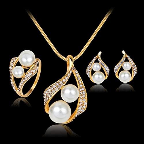 KDFJ Joyas de Perlas Conjuntos de Joyas para Mujeres Conjuntos de Joyas africanos Juego de Boda Crystal Crystal Bridal Dubai Collar Traje de joyería