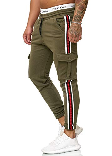 OneRedox Herren | Jogginghose | Trainingshose | Sport Fitness | Gym | Training | Slim Fit | Sweatpants Streifen | Jogging-Hose | Stripe Pants | Modell 1224 Grün M