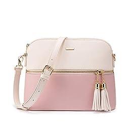 LOVEVOOK Sac à bandoulière sac à main en cuir beige sac à bandoulière sac de dames avec gland sac de soirée à glissière…