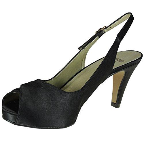 MAYFRAN 5280 Zapato Abierto Fiesta Tacón 8.5 Cm y Plataforma 2 Cm para Mujer