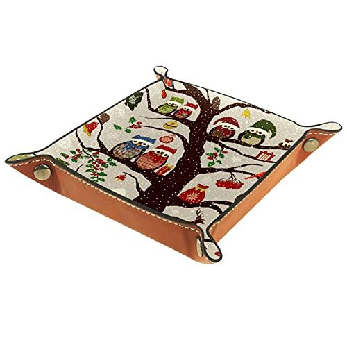 Yitian Bandeja de cuero PU joyería de cuero Catchall invierno Navidad sombrero búho pájaro en árbol para cambio joyería clave teléfono relojes dados suave elegancia cuero reciclable