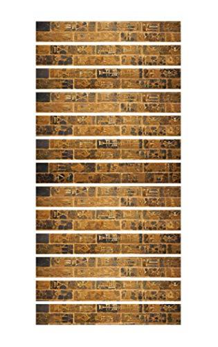 13 piezas 3D Pegatinas de Escalera Patrón de Ladrillo de Piedra Estilo Egipcio 100 * 18 cm/ 39.37 * 7.08 pulgadas (amarillo)