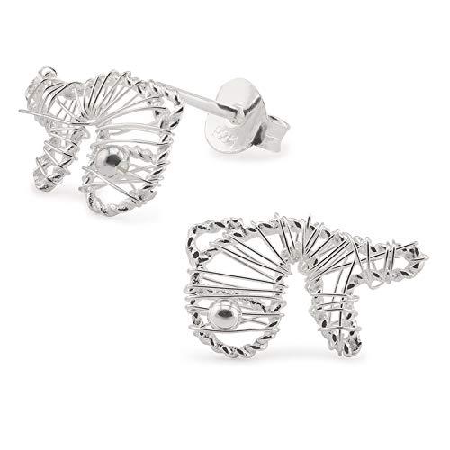 Monkimau Damen Ohrringe Fisch Ohrstecker aus 925 Sterling Silver echt Silber mit Drahtgeflecht