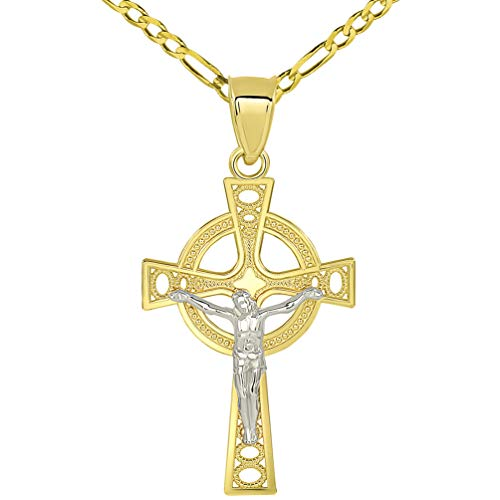 Solid 14k Two Tone Gold Celtic Cross Jesus Crucifix Pendant with Figaro Chain Necklace, 22'
