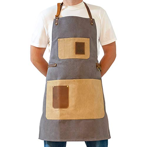 BBQ Butler BBQ Grill Apron - Adjustable Canvas Cooking Apron - XXL - Heavy Duty BBQ Smoker Apron - Work Aprons with Pockets - Grilling Apron - Workshop Aprons for Men - Genuine Leather Pockets