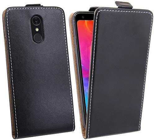 Flip Hülle kompatibel mit LG Q7+ (Plus) Handy Tasche vertikal aufklappbar Schutzhülle Klapp Hülle Schwarz @cofi1453®
