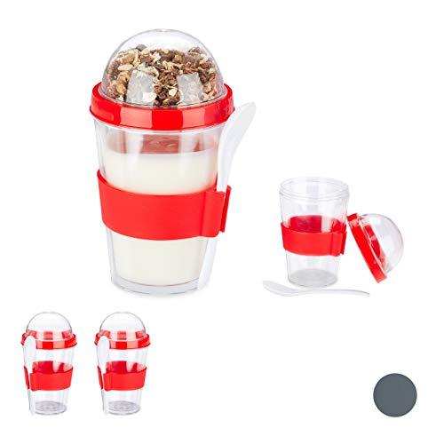Relaxdays 4 x Müslibecher, Joghurtbecher für unterwegs, Müsli to Go Becher, Müsli Cup, inkl. Löffel, 400 ml, HxD 16x8 cm, rot