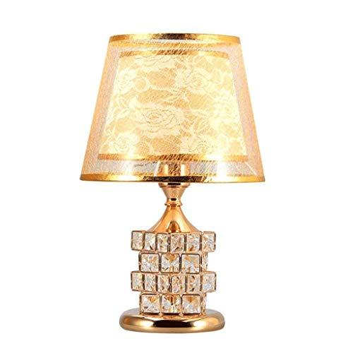 SPNEC Lámpara de Mesa, Cristal Base Sala Dormitorio Mesita de luz de la lámpara, Pantalla Ancha, E27