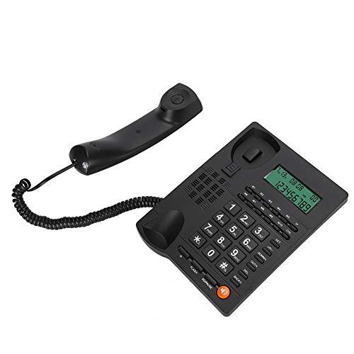 Goshyda Teléfonos fijos, L019 Multifunción English Trade Backlight Call Desk Display Teléfono de identificación de Llamadas, para Oficina, hogar, Hotel, Restaurante, Negro