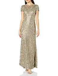 Smoke Pearl Short Sleeve Sequin Lace Gown