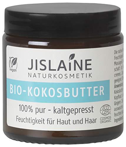 Jislaine Bio-KOKOSBUTTER* 100g kaltgepresst - vegan & ohne Palmöl - Für Haut, Haare oder Lippen & auch als Make-Up-Entferner verwendbar - im Glastiegel