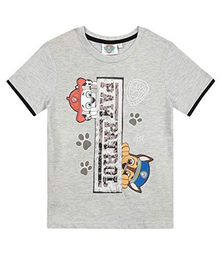 PAW PATROL Jungen T-Shirt mit Rundhalsausschnitt und Rubber-Druck Grau 116