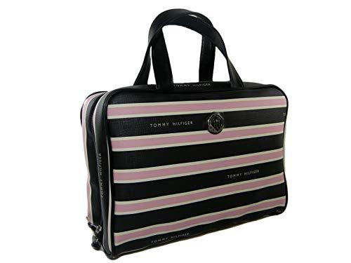 New Tommy Hilfiger Logo Cosmetics Make Up Bag Travel Train Case Black Pink Stipe