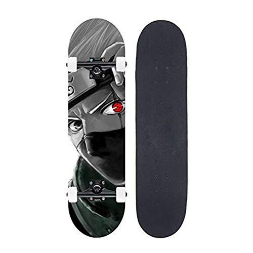 FWAHB Skateboard Complete Board Hatake Kakashi, Adecuado para Adolescentes, Principiantes, niños, Adultos, Skate de Arce de Siete Capas a través de la Tabla Corta de Estilo Libre, Mini Street Board 🔥
