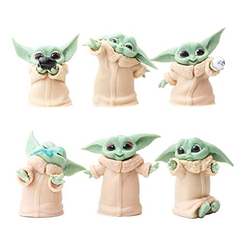 Nesloonp Cake Topper 6 Piezas Cake Topper de Star Wars Minifiguras Topper de Tarta Decoración para Niños Ducha de Bebé Fiesta de Cumpleaños DIY Decoración Suministros