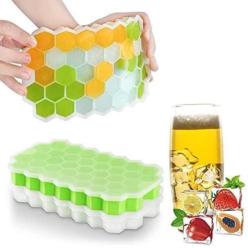 KNMY Bandeja para cubitos de hielo con tapa, 2 paquetes de 74 moldes de fácil liberación, reutilizable, sin derrames, tapa extraíble, silicona suave, apilable, sin BPA, seguro para el congelador