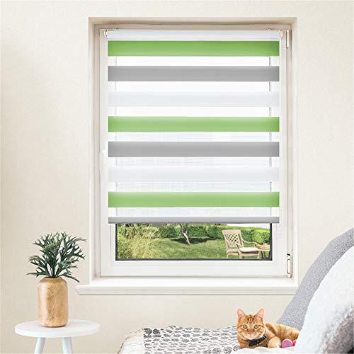 Doppelrollo, Jalousien, Seitenzugrollo Easyfix, Klemmfix ohne Bohren, Sonnen- und Sichtschutz für Fenster und Tür Grün+Grau+Weiß, 100 x 130 cm