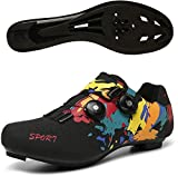 KUXUAN Zapatillas de Ciclismo de Carretera para Hombre Zapatillas de Bicicleta de Montaña con Tacos SPD Zapatillas de Ciclismo para Interiores MTB Spin,Black-42EU=(260mm)