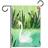 ガーデンヤードフラッグ両面 /12x18in/ ポリエステルウェルカムハウス旗バナー,漫画の白い白鳥