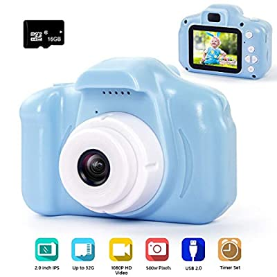 hyleton Digital Camera for Kids, 1080P FHD Kids Digital Video Camera with 2 Inch IPS Screen and 16GB SD Card for 3-10 Years Boys Girls Gift from hyleton