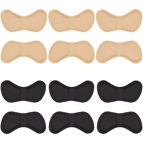 Fersenhalter Fersenpolster Pads Ferse Schuheinlagen für Besseren Schuh Passend und Komfort (3 Schwarz und 3Beige)