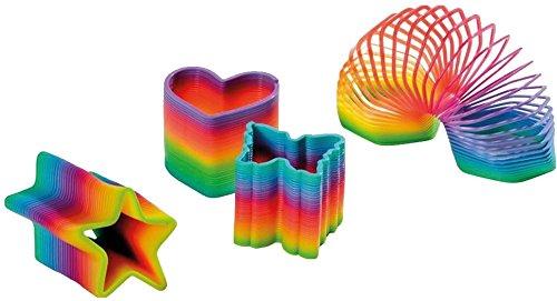 4-teiliges Regenbogen-Spiralen Set * STERN, HERZ, ACHTECK UND SCHMETTERLING * für Party und Geburtstag // 8cm Durchmesser // Treppenläufer Kinder Geburtstag Party Spiel Mitgebsel Geschenk