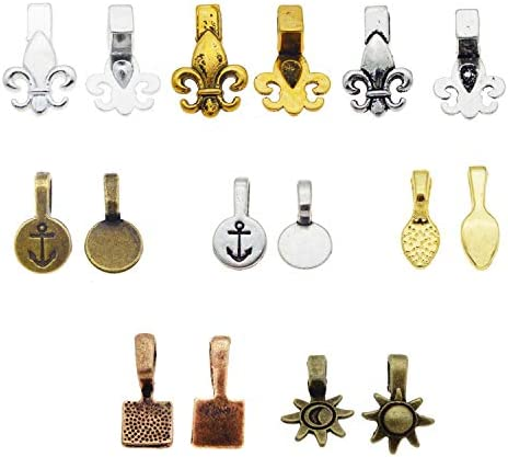 200PCS Glue on Bails for Pendant Jewelry Making Craft DIY Bales Cabochon Setting Mix Kit Gold product image