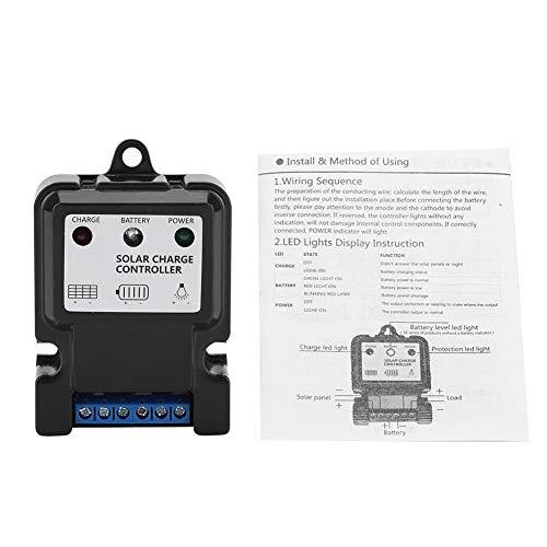Zerodis Régulateur de charge solaire intelligent PWM 10 A pour petit système d'énergie solaire (DHS-5S6 V/12 V 10 A)