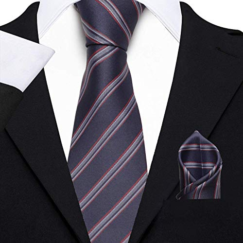 Axlon Men's Micro Polyester Striped Necktie Set with Pocket Square and Brooch Pin (Blue , Free Size)