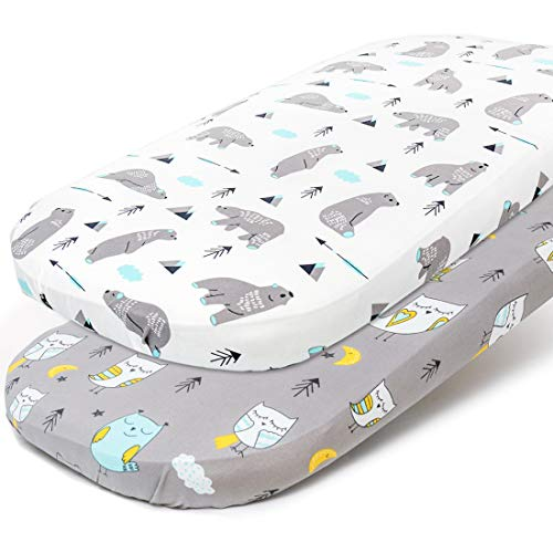 Stretchy Bassinet Sheet Set BROLEX 2 Pack Snug Fitted Cradle Fitted Sheets for Bassinet Pads/Mattress, for Boys Girls,Unisex,Ultra Soft Breathable,Owl & Bear