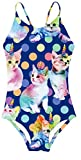 Girls 3D Unicorn Cat Printed Pattern One Piece Swimsuits Bathing Suits Kids Swimwear Cross Back Adjustable Straps Beach Summer Little Girl Swim Suits 7-8 Years Old