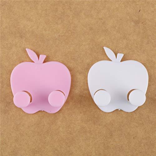 KWOSJYAL 10 Stück 5 rosa + 5 weiße Selbstklebende klebrige Haken Draht Kabel Schlüsselbund Veranstalter Halter Apfelform Stecker verbunden Halter Wand Saugnapf Haken ohne Nägel