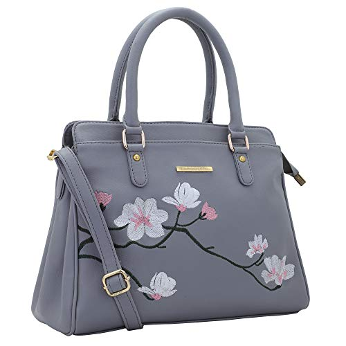 Lapis O Lupo Flower Embroidery Women Handbag (Grey)