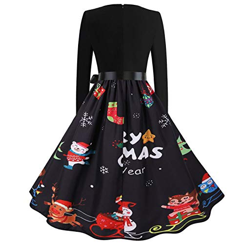 SEWORLD Women Christmas 2020 Halloween Dresses Vintage Long Sleeve 50s Housewife Evening Retro Swing Cocktail V Neck Party Prom Dress